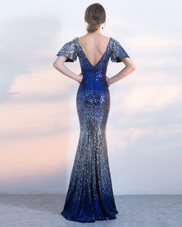 Shiny Sequin Long V-Neck Backless Short Cap Sleeve Prom Party Gown