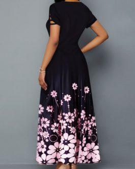 Short Sleeve Bowknot Detail Flower Print Dress