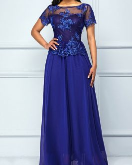 Short Sleeve Lace Yoke Dress