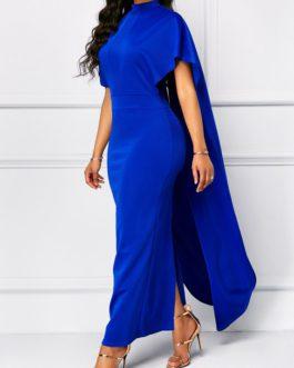Short Sleeve Mock Neck Cape Dress