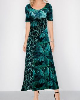 Short Sleeve Round Neck Leaf Print Dress