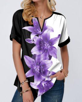 Short Sleeve Split Neck Flower Print Blouse