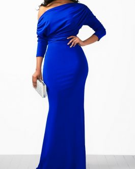 Skew Neck High Waist Mermaid Dress
