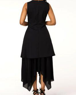 Sleeveless Asymmetric Hem Mesh Patchwork Dress