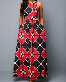 Sleeveless High Waist Zipper Back Dress