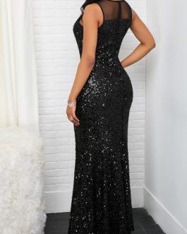Sleeveless Mesh Panel Sequin Maxi Dress
