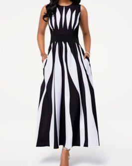 Sleeveless Round Neck Stripe Print Pocket Dress
