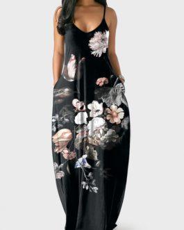 Spaghetti Strap Large Floral Print Dress