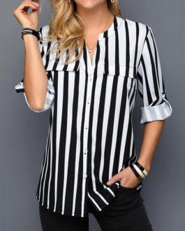 Split Neck Button Up Striped Shirt