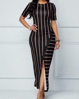 Stripe Print Front Slit Round Neck Dress