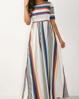 Stripe Print High Waist Maxi Dress