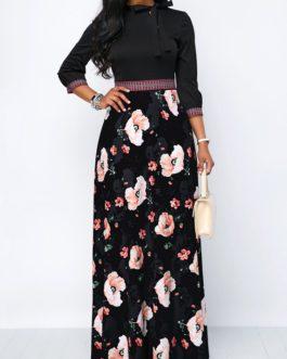 Tie Neck Band Waist Flower Print Maxi Dress