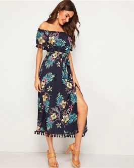 Tropical Print Off the Shoulder Boho Belted Bar dot Long Dress