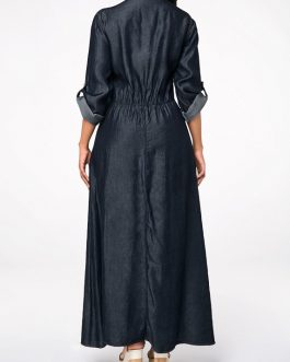 Turn down Collar Button Front Roll Tab Sleeve Dress