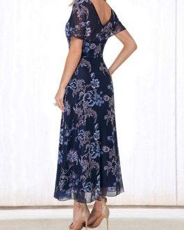 V Back Round Neck Flower Print Dress