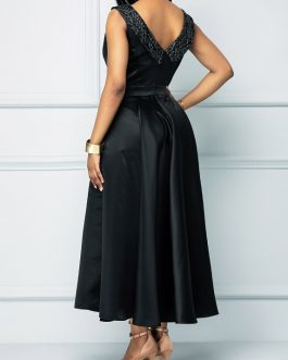 V Back Round Neck Maxi Dress