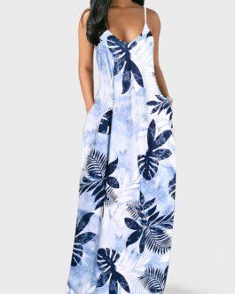 V Back Spaghetti Strap Leaf Print Pocket Dress