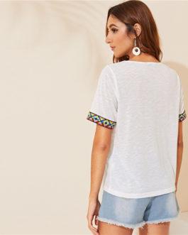 V Neck Aztec Embroidered Tape Trim Short Sleeve T Shirt