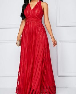V Neck High Waist Belted Maxi Dress