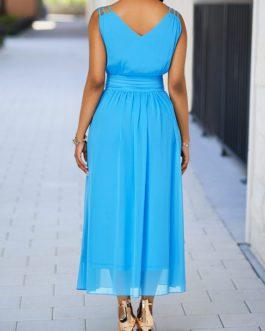 V Neck High Waist Maxi Dress