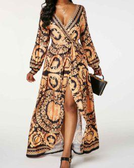 V Neck Lantern Sleeve High Waist Overlap Dress