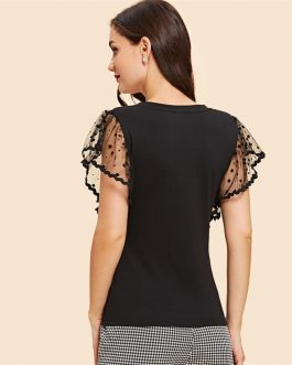 Vintage Black Dot Contrast Mesh Sleeve V Neck Plain T-shirt