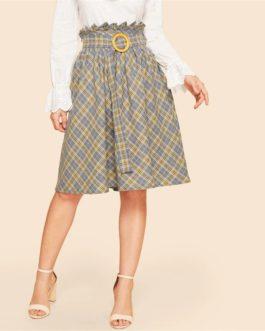 Vintage Paper-bag Waist Plaid Flare Belted Knee Length Skirt