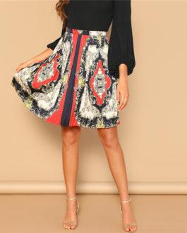 Vintage Scarf Print Multicolor Mid Waist A Line Mini Pleated Skirt