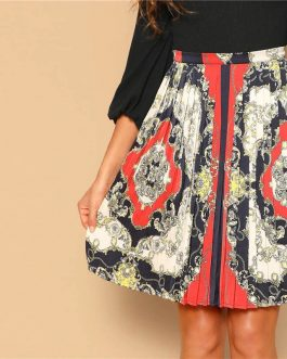 Vintage Scarf Print Multicolor Mid Waist A Line Mini Pleated Skirt