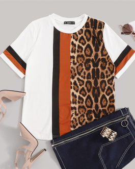 White Color Block Cut-and-Sew Leopard Panel Top