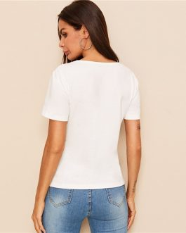 White Short Sleeve Cut Out Round Neck stretchy Tops