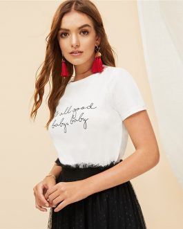 White Slogan Letter Print Solid Slim Fitted Tee Short Sleeve Round Neck T Shirt
