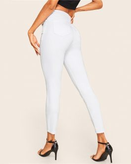 Woman Casual Mid Waist White Jeans Stretchy Solid Ladies Crop Denim Pants