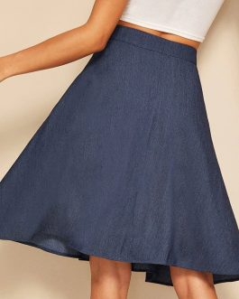 Women A Line Flared Skirts Navy Solid Mid Waist Midi Skirts
