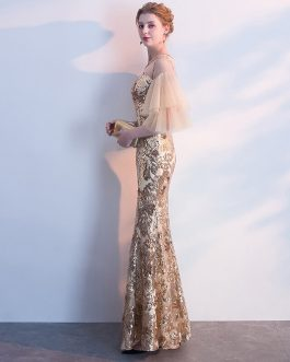 Women Appliques Long Mermaid Tulle Half Sleeve Prom Gowns