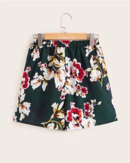 Women Asymmetrical Ruffle Wrap Floral Print Shorts