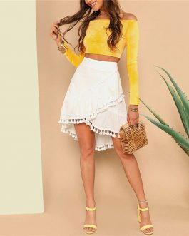 Women Asymmetrical Wrap A-Line Beach Midi Skirts