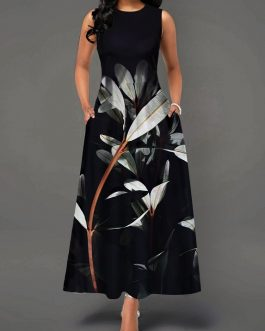 Women Back Zipper Round Neck Plant Print Maxi Dress