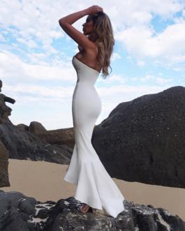 Women Bandage Vestidos Strapless Sexy Long Club Party Dress
