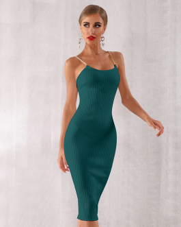 Women Bodycon Sexy Chain Vestidos Bandage Evening Party Dress