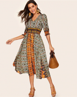 Women Bohemian V Neck Puff Sleeve Tribal Print Shirred Detail Dress