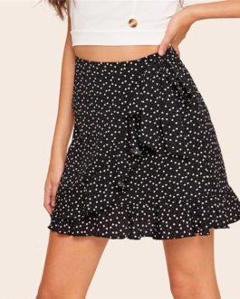 Women Boho Beach Heart Print High Waist Skirt Casual A Line Mini Skirt