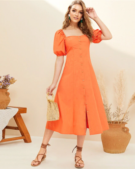 Women Boho Cute Square Neck Solid Puff Sleeve Midi Long Dress