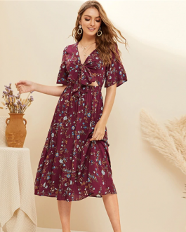 Women Boho Floral Print V Neck Short Sleeve High Waist Long Dress