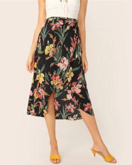 Boho Ladies High Waist Shift Mid-Calf Skirts