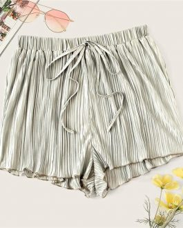 Women Boho Silver Drawstring Waist Pleated Loose Shorts
