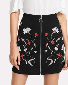 Women Botanical Flower Embroidery Zipper Up Skirt