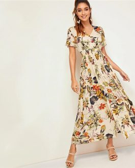 Women Botanical Print Button Front Ruffle Tie Front V Neck Boho Dress