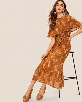 Women Buttoned Detail Foldover Front Flippy Hem Floral Dress
