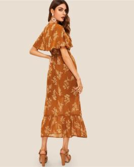 Women Buttoned Detail Foldover Front Flippy Hem Floral Dress